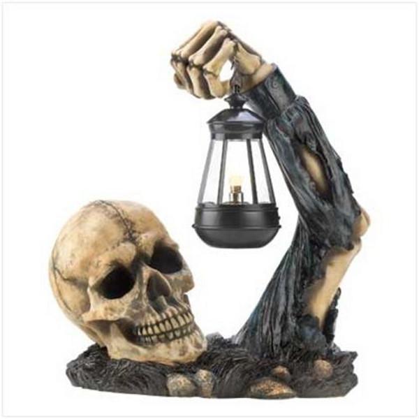 Sinister Skull With Lantern Halloween Decoration