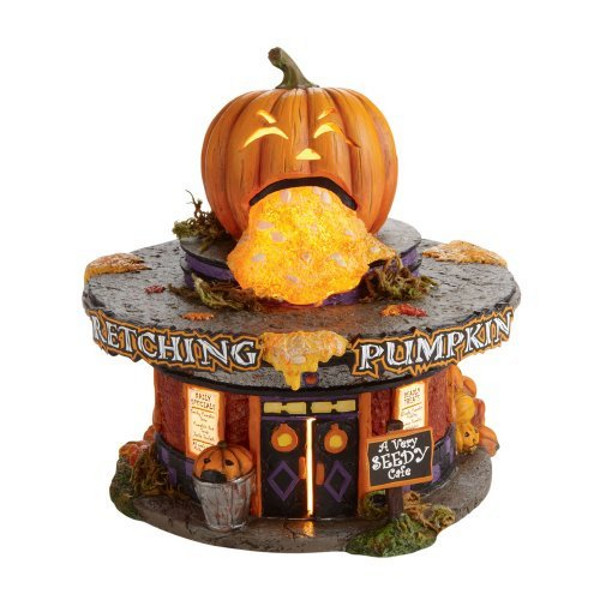 halloween snow village pumpkin diner