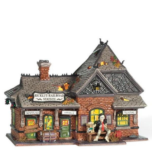 Halloween Snow Village Railroad Station